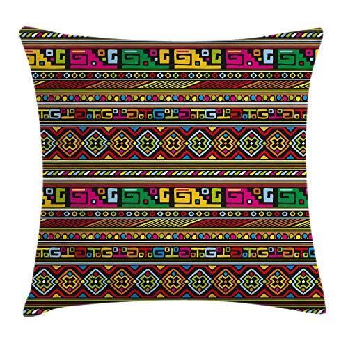 ABAKUHAUS Stammes Kissenbezug, Bunte afrikanische Grenzen, Waschbar mit Reißverschluss Kissenhülle mit Farbfesten Klaren Farben Beidseitiger Druck, 45 x 45 cm, Mehrfarbig