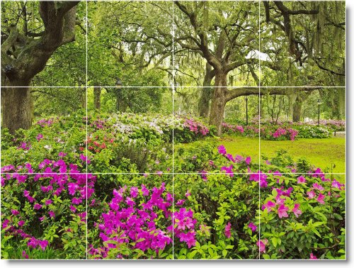 FLORES FOTO MURAL DE AZULEJOS F249  12 75X 17PULGADAS CON (12) 4 25X 4 25AZULEJOS DE CERAMICA