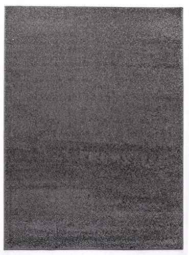 Luxus Hochwertiger einfarbiger Teppich Modern Größen Dunkelgrau (140x190)
