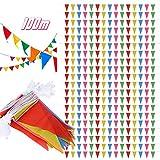 SERWOO 200pcs Drapeaux de Triangle Multicolore (12.5*21cm), 20 x Guirlandes de Fanions Bannière Banderole Triangle en Jute Vintage Decoration pour Cérémonie Mariage (4,6 - 5,2M/chaque guirlande)