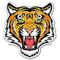 2 x Tiger Lion Cat Sticker Helmet Guitar Quad Car Bike iPad Laptop Decal #4088 (9.2cm Wide x 10cm Tall)
