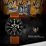 INFANTRY® Herren Analoges Quarzwerk Armbanduhr Datum Sport Braun Leder Band World of Tanks - 3