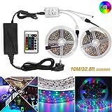 LED Streifen RGB 10M/32.8ft ZCPlus LED Band Lichtleiste 3528 SMD mit DC 12V 6A Netzteil und 24 Tasten Fernbedienung Dekoration Beleuchtung für Haus Küche Weihnachtsfest Hochzeit Schaufenster