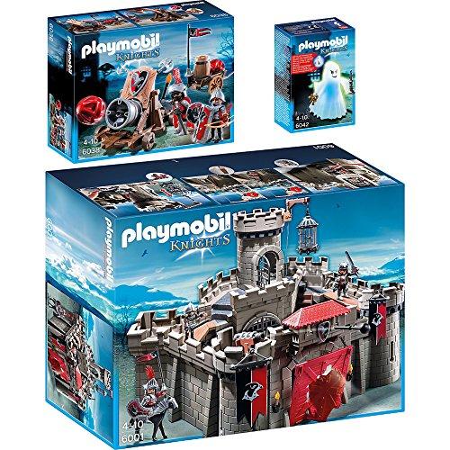 PLAYMOBIL® Knights 3er Set 6001 6038 6042 Falkenritterburg + Riesenkanone der Falkenritter + Gespenst mit Farbwechsel-LED