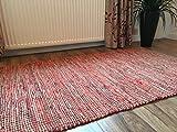 Second Nature Fair Trade Rot Leder und Jute Chindi Flachgewebe Flickenteppich 90cm x 150cm