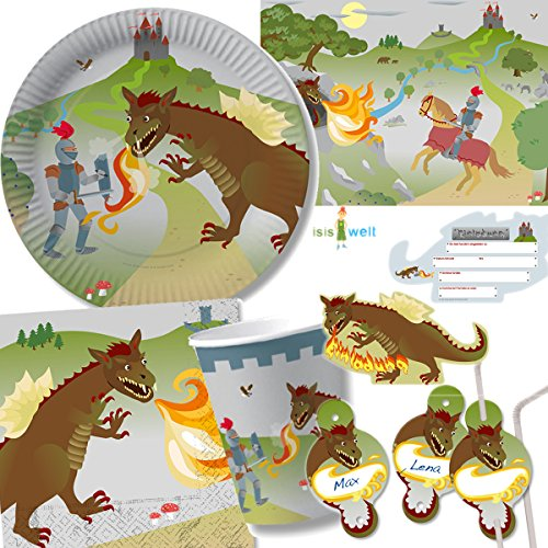 CHEVALIER-Dragon-Party-101-pices-pour-anniversaire-denfant-avec-8-enfants-assiettes-verres-serviettes-invitations-pailles-Sets-de-table-ballons-Serpentins-etc-de-DH-KonzeptDcorationdevise-Harnais-Kind