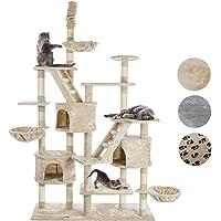 Happypet® Kratzbaum für Katzen deckenhoch höhenverstellbar 230-260cm cm hoch, CAT013-3, großer Kletterbaum Katzenbaum…