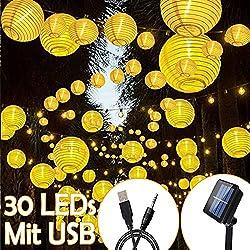 InnooLight Solar Lichterkette Lampions 30er LED Garten Außen Innen Wasserfest 6 Meter Warmweiß Solar Beleuchtung mit USB-Ladekabel und Solarpanel für Garten, Party, Haus, Hof, Outdoor