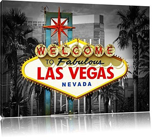 Ortseingangsschild Las Vegas schwarz/weiß Format: 120x80 auf Leinwand, XXL riesige Bilder fertig gerahmt mit Keilrahmen, Kunstdruck auf Wandbild mit Rahmen, günstiger als Gemälde oder Ölbild, kein Poster oder Plakat