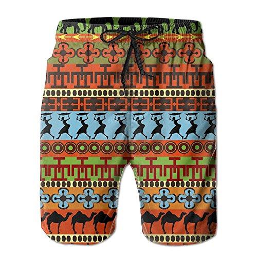 African Pattern Men's/Boys Casual Swim Trunks Short Elastic Waist Beach Pants with Pockets