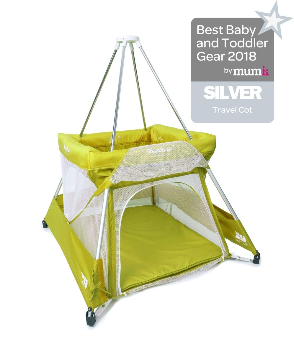 BabyHub SleepSpace Travel Cot with Mosquito Net, Green BabyHub Three cots in one; use as a travel cot, mosquito proof space and reuse as a play tepee Includes cotton canvas tepee cover Can be set up and moved even while holding a baby. Dimensions Open - L 116cm x W 960cm x H 122cm (when opened). Dimensions Closed - 83cm H x 22cm x 42cm (in bag) 1