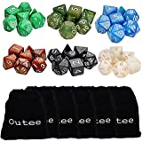 6 x 7 (42 Pieces) Polyhedral Dice 6 Color Dungeons and Dragons DND MTG RPG D20 D12 D10 D8 D6 D4 Game Dice Set by Outee