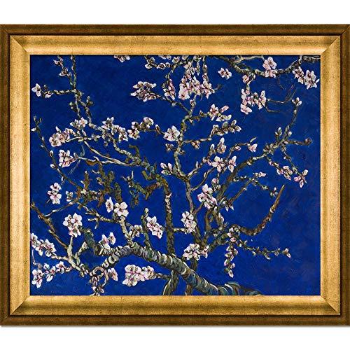 La Ansammlung Mandelbaum in Blüte, Saphir Blau von la Ansammlung mit Athen Gold Rahmen handbemalt Öl auf Leinwand, Holz, Mehrfarbig -