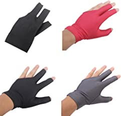 MagiDeal 3 Pieces Spandex Soft Billiards Open 3 Finger Glove Left Handed Pool Cue Sticks Glove