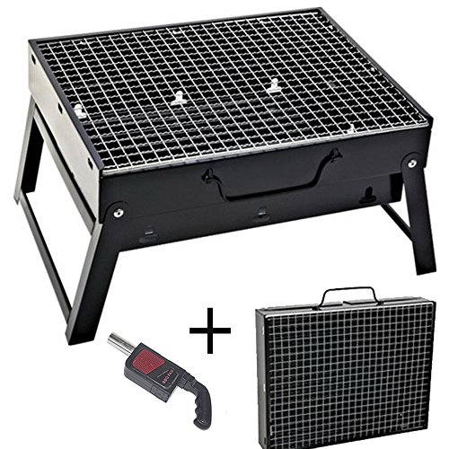 61RIu33TkwL - Sunjas Campinggrill, Faltbare BBQ Holzkohlegrill, Outdoor Reisegrill, Tischgrill, Mini Grill für Picknick Party Barbecue (Holzkohlegrill mit Elektro Ventilator)