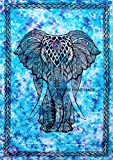 FUTURE HANDMADE Türkis Farbe Indische Bedruckte Elefant Tapisserie Hippie Bohemiann Wandbehang 100% Baumwolle Zwilling Tapisserie Wohnheim Dekor Zimmer Tagesdecke DESIGN 6