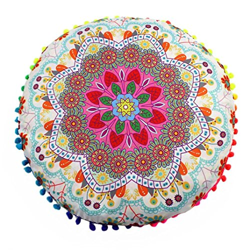 HARRYSTORE 2017 Indische Mandala Boden Kissen Runde Bohemian Style Kissen Cover Abnehmbare und waschbare Kissen Fall 43*43cm (Halloween 2017 Ideen Dekor)