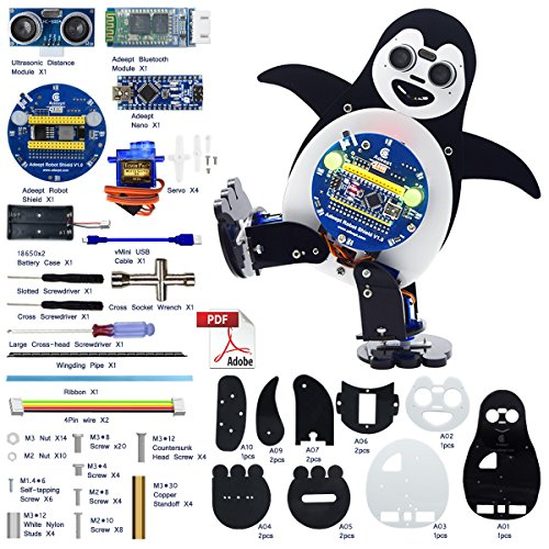 Adeept Penguin Robot Kit | Dancing Robot Kit for Arduino Nano | Remotely Controlled by Android Device via HC-06 Bluetooth Transmission | Obstacle Avoidance | STEM Kit with PDF Manual (Stem Hc)