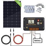 ECO-WORTHY Kit pannello solare 120W 12V: pannello solare mono 120W e regolatore di carica solare 20A e cavo solare 5m e staffe di montaggio stile Z per camper camper camper