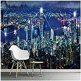 Photo Fond d'écran-HD 3D Stéréo Hong Kong Nuit Paysage-Fond Murale Murale Salle à manger Décor-Papier Peint Murale-400cm (L) x250cm (H) (13'1'x8'2') ft