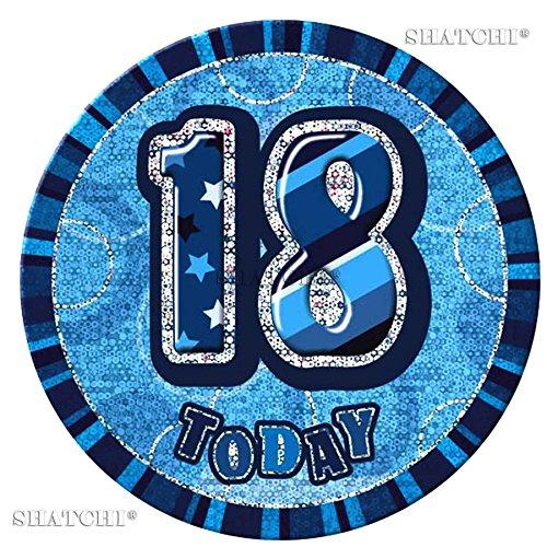 Gifts 4 All Occasions Limited SHATCHI-342 - Insignia de 18 cumpleaños para adolescentes, color azul