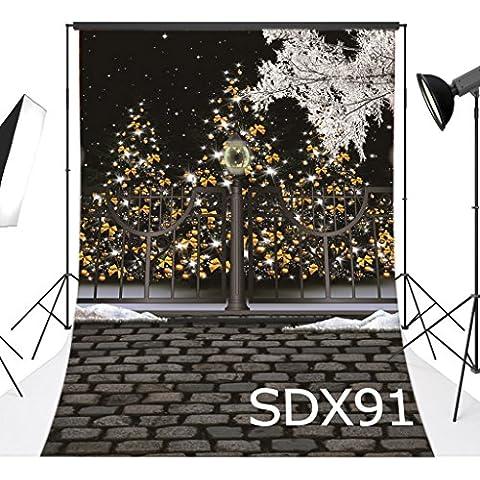 LOVE-BABY Vinilo Al aire libre Navidad Tema con El piso de ladrillo gris Backdrops 5x10ft / 150x300cm Fotografía Bcakgrounds para el estudio / fotografía profesional y accesorios de la foto Decoración para Paty / etapa