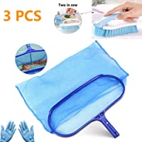 kungfu Mall Hot Tub Cleaning Kit Accessories Contain Pool Net, grime sidewall care two in one Cleaning Brush, with a Pair Gloves as a Gift, All in 1