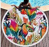 Tropical Birds Dracena Tower Grandes Y Redondas Toallas De Playa Manta 150x150cm Toalla De Playa Camping Picnic Yoga Estera Toalla Mantel Al Aire Libre
