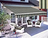 Greenbay 2.5 m x 2m DIY Patio Retractable Manual Awning Garden Sun Shade Canopy Multi-Stripe with Fittings and Crank Handle