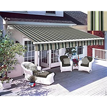 Greenbay 4 X 3m Manual Awning Garden Patio Canopy Sun Shade Shelter Retractable Multi Stripe
