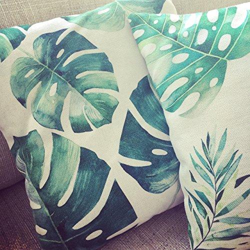 Kissenbezug, Kissenhülle 45 x 45 cm - UNIKAT, Palmen, Sofakissenbezug, Palmenmuster, grün, Palmen Kissen, Blätter, Dekokissen, -