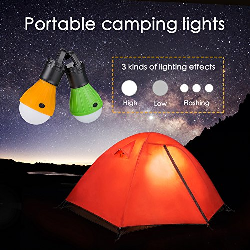 Qwert Portable Outdoor Waterproof Tent LED Light Bulb COB150 Lumens Emergency Light Lamp Lantern for Camping,Hiking,Fishing,Hunting,Backpacking, Mountaineering activities(Pack of 2)