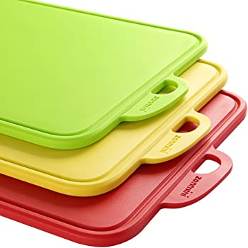 Zanmini Schneidebrett Set Kunststoff (3PCS) Küchenbretter Frühstücksbretter Brotbrett Set Essbares PP-Material Rutschfeste schneidebretter von 32.5 x 20.5 x 0.78cm