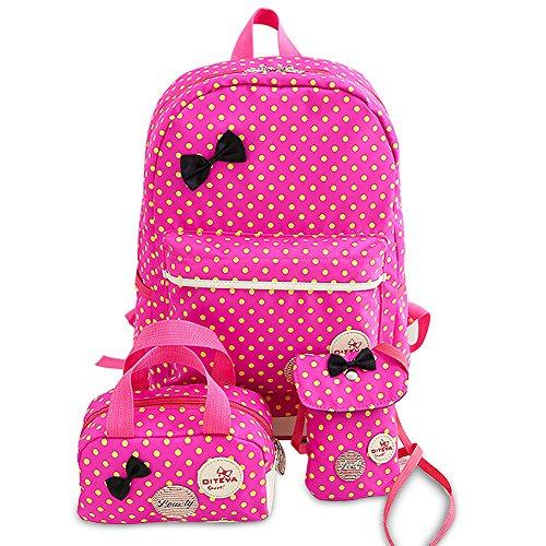 HZQDLN Mochila Escolar para Niña Conjunto de Bolso Casual 3 en 1 Mochila de Lunares con Lazo + Bolso pequeño + Mini Bandolera para Mujer (Rosa roja)