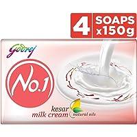 Godrej No.1 Bathing Soap Kesar & Milk Cream, 150g (Pack of 4)