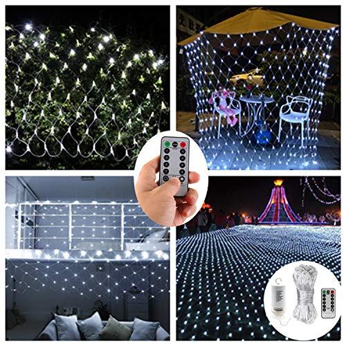 chterkette mit Fernbedienung, 3 m x 2 m, 200 LEDs, Netzgewebe, batteriebetrieben, 8 Modi, dimmbare Lichterkette 9.8ft x 6.6ft,200LEDs weiß ()