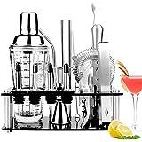 Viesap Shaker Cocktail, 17 Pièces Cocktail Set Bar Kit Bar Tool Set, Cocktail Shaker Kit en 400ML Verre Shaker Cocktail, Étag