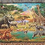 Bunter Stoff mit Giraffen und Löwen von Robert Kaufman