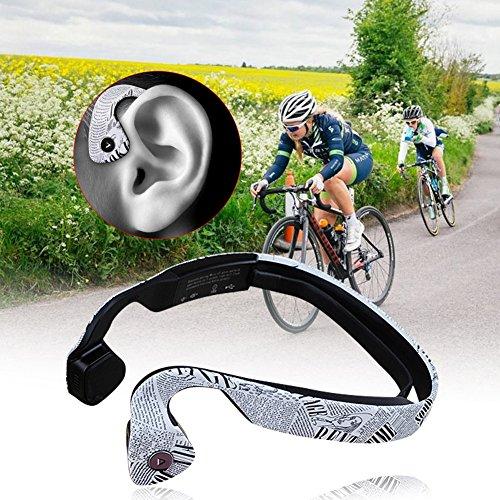 Écouteurs Bluetooth 4.0 à Conduction Osseuse Bone Conduction Headphone sans Fil avec Microphone Stéréo Réduction du Bruit pour Sports, Cyclisme, Course à Pied