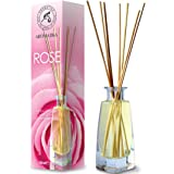 Diffuser Roos 100ml met 8 Bamboestokken - geen Alcohol - 100% Puur & Natuurlijke Rose - Beter Kamergeur - Aromatherapie - Thu