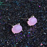 Skyllc Cute Pink Cat Rose Quartz Stud Earring Jewelry