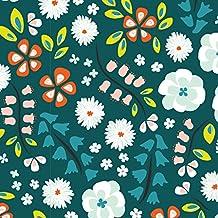 Jersey tela–flores jardín verde–tela de Jersey–cloudj01–por 0,5m 50cm x 140cm–by Cloud 9telas–100% algodón orgánico certificado con tejido entrelazado (Floral jardín verde–tela de Jersey cloudj01)