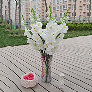 80 Cm Artificial Gladiola Gladiolus Flor Tallo Home Garden Decor Blanco