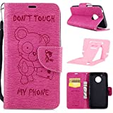 Ekakashop Magnetic Flip Cover for Motorola G5,Cute Funny Little Bear Embossing Wallet Case with Hand Strap for Moto G5, Pretty Pu Leather Women&Men General Folio Style Colorful Wallet Case with Card Slots for Motorola Moto G5 with Kickstand (Colors Random) -- Hot Pink