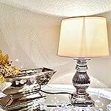 Clic-And-Get Steffi Tischlampe Silber Weiß Keramik Shabby Chic Tischleuchte Keramiklampe