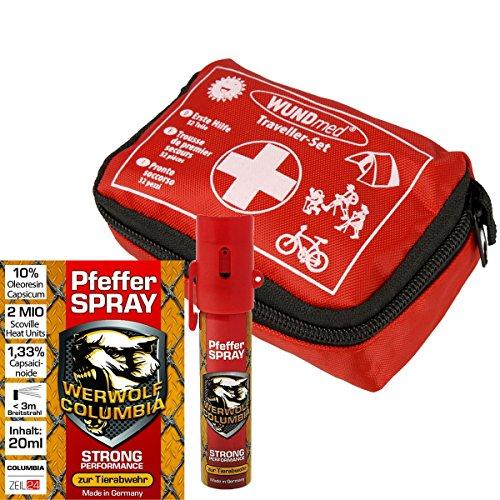 Sicherheits Set Erste-Hilfe-Set und Werwolf Columbia Pfefferspray 20 ml