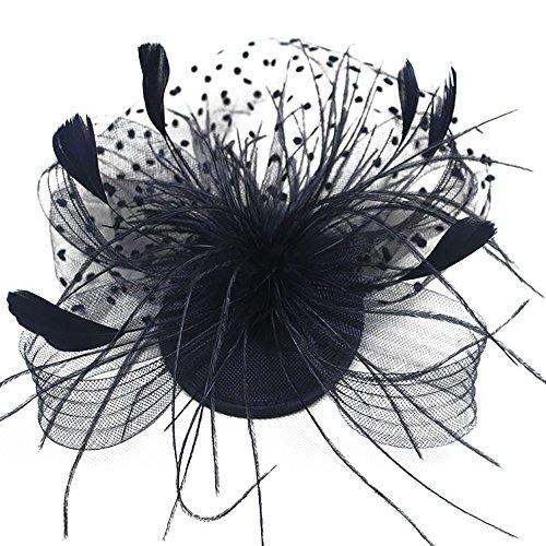 UJUNAOR Mode Hochzeit Frauen Fascinator Hut Penny Bänder Federn Party Mützen Braut Kopfschmuck(Schwarz) - Pflaumen Gurke