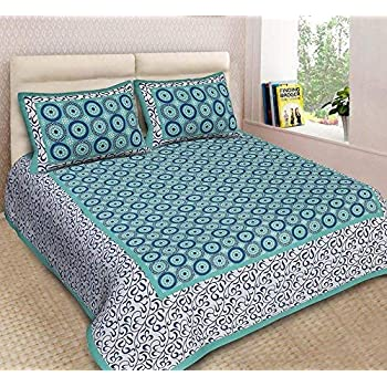 JAIPUR TO HOME Pure Cotton Jaipuri Print Bedsheet for Double Bed with 2 Pillow Covers, King Size (Blue)