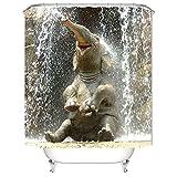 Hoomall Anti-Schimmel Wasserdicht Duschvorhang Elefant Badezimmer Vorhang Digital Gedruckt Badvorhang Badezimmer Duschvorhang 150x180cm(BxH)