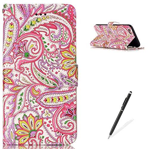iPhone 6 6S 4.7 Wallet Cover Premio Lusso PU Custodia in Pelle,MAGQI Robusto Durevole A Prova di Graffio Flip Stile del Libro Conchiglia Carina Animale Cartone Animato Caso di Pittura 3D con [Libero Piume Colorate